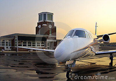 Private Jet at Sunrise