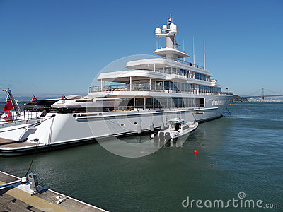Private Mega Yacht at San Francisco Bay Editorial Image
