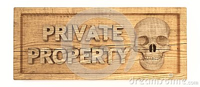 Private property wood sign