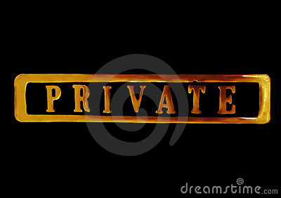Private sign in gold