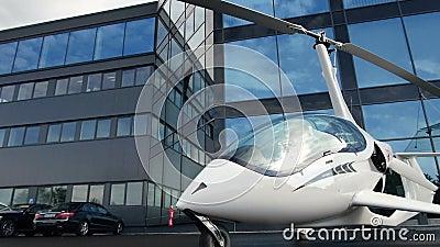 Privater Hubschrauber auf dem Parken nahe dem Bürogebäude stock footage