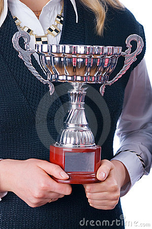 Free Prize-winning Cup In Hands Of A Command Royalty Free Stock Photography - 8341357