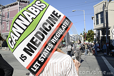 Pro-cannabis demonstration and mock funeral march Editorial Stock Image