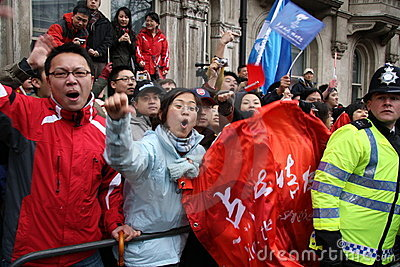 Pro China Supporters at Olympic Torch Relay Editorial Photo