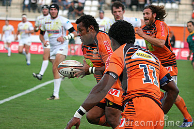 Pro D2 rugby match RCNM vs Stade Montois Editorial Stock Image