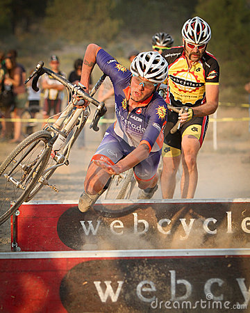 Pro Damian Schmitt crashes Cyclocross Pro Editorial Stock Photo