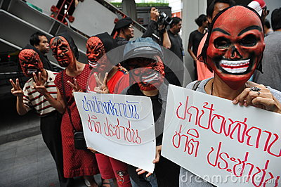 Pro-Government  Red Shirt  Protest in Bangkok Editorial Photography