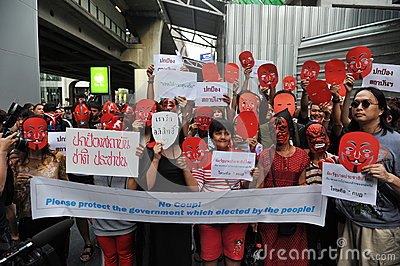 Pro-Government  Red Shirt  Protest in Bangkok Editorial Stock Photo