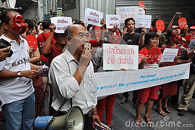 Pro-Government  Red Shirt  Protest in Bangkok Editorial Stock Image