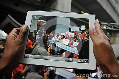 Pro-Government  Red Shirt  Protest in Bangkok Editorial Image