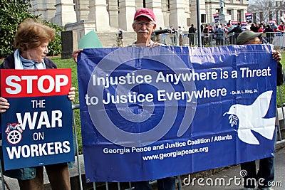 Pro-Labor Protest March in Atlanta Editorial Stock Image