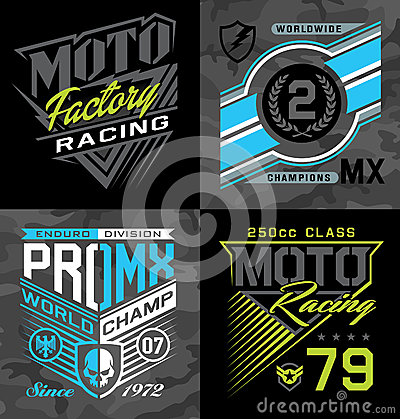 Free Pro Motocross Racing Emblem T-shirt Graphics Stock Photo - 69586210