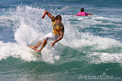 Pro Surfer Andy Irons in Surfing Competition Editorial Stock Image