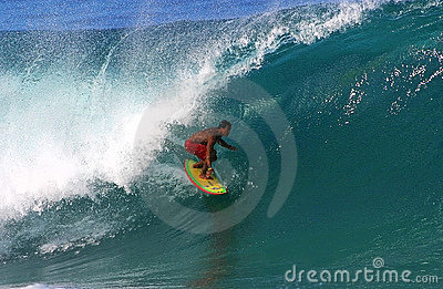 Pro Surfer Braden Dias Surfing at Pipeline Editorial Photo