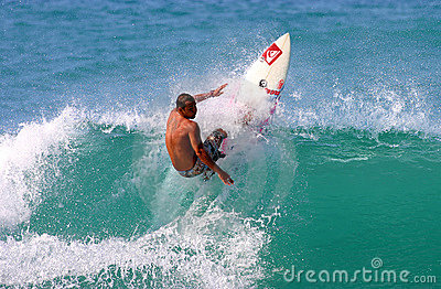 Pro Surfer Fred Patacchia Surfing in Hawaii Editorial Image