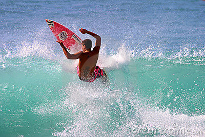 Pro Surfer Joel Centeio Surfing in Hawaii Editorial Image