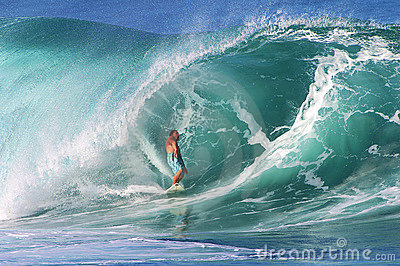 Pro Surfer Kalani Chapman Surfing at Pipeline Editorial Image