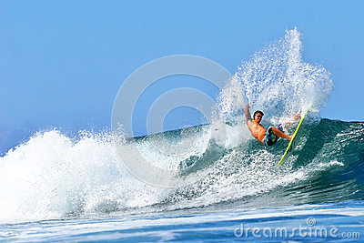 Pro Surfer Kekoa Cazimero surfing in Hawaii Editorial Photo
