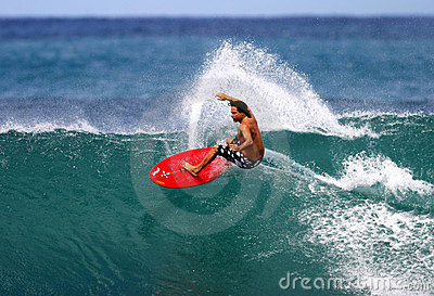 Pro Surfer Mike Latronic Surfing in Hawaii Editorial Photo