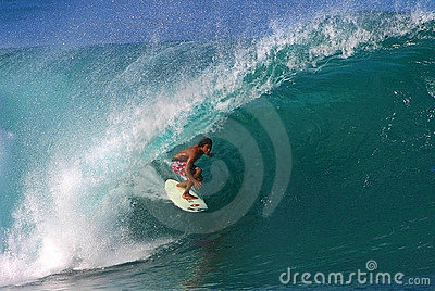 Pro Surfer Randall Paulson Surfing at Pipeline Editorial Photography