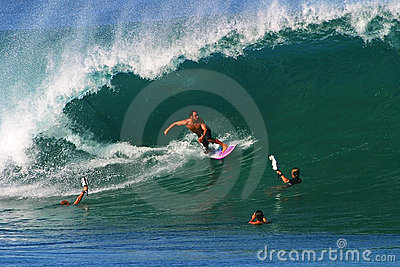 Pro Surfer Shane Dorian Surfing at Pipeline Editorial Image
