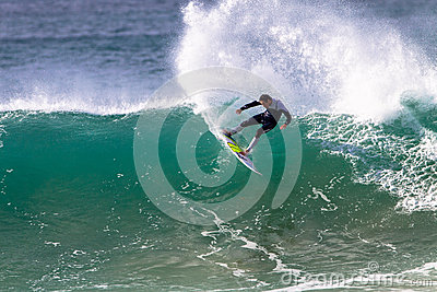 Pro Surfer Surfing J Bay Rail Turn Editorial Photography