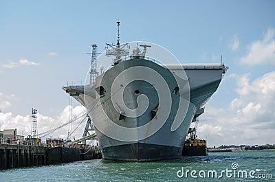 Proa del HMS ilustre, Portsmouth Imagen editorial