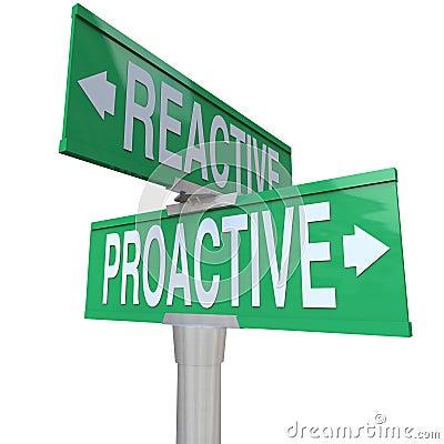 Proaktywnie Vs Odczynnikowi Dwudrogowi Drogowi znaki Wybiera akcję