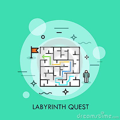 Free Problem Solution And Decision Making Concept, Successful Business Strategy, Labyrinth Quest Icon Royalty Free Stock Photos - 80886708