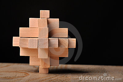 Problem solved, wooden puzzle