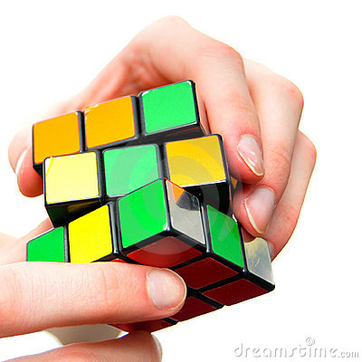 Problem solving puzzle cube Editorial Stock Image