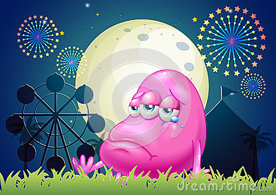 A problematic pink monster near the carnival