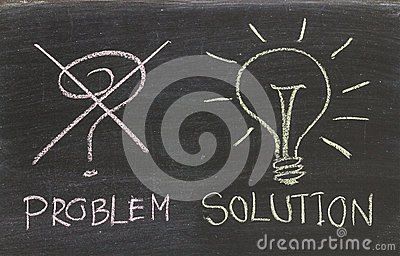 Problems Solutions handwritten with white chalk on a blackboard