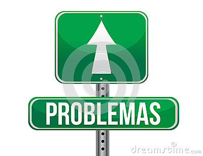 Problems in Spanish green traffic road sign