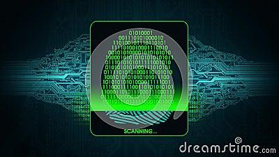 Proces odcisku palca skanerowanie - cyfrowy system bezpieczeństwa rezultat odcisku palca obrazu cyfrowego dostęp zaprzeczający