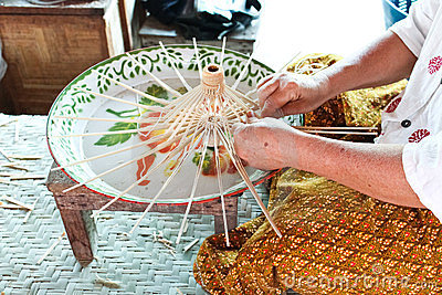 The process of making an umbrella made of wood