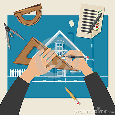 Free Process Of Designing The House. Royalty Free Stock Photo - 61294665