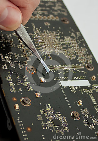 Process of repairing computer electronic board