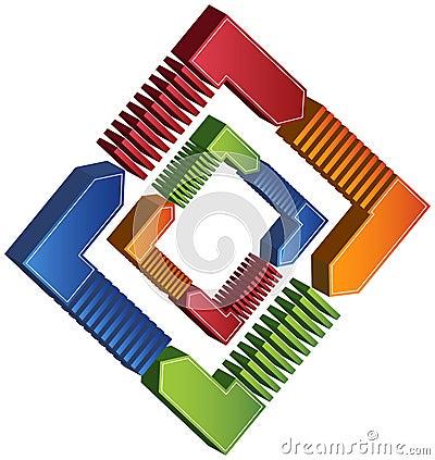 Process Square Diagram - 3D Arrows