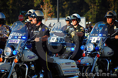 Procession of State Policemen on motorcycles Editorial Photo