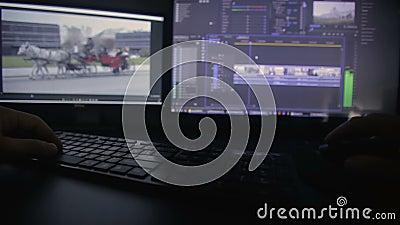 Processo de edição video video estoque