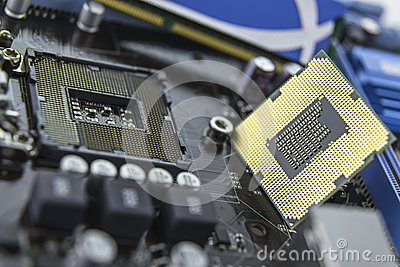 Processor on the motherboard with socket prepared for installati