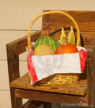Produce in a wicker basket