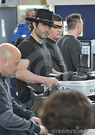 Producer/director Robert Rodriguez at LAX airport Editorial Stock Image