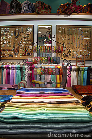 Product display at colorful ethnic shop