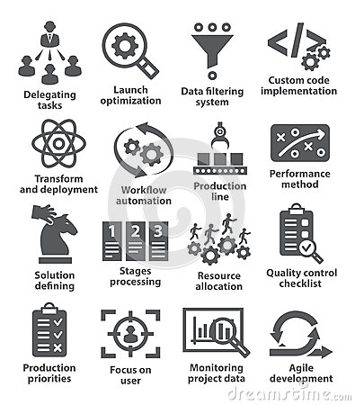 Product management icons Vector Illustration