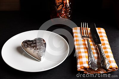 Product Photography Of Silver Heart Accessory White Ceramic Plate And Fork And Steak Knife On White And Orange Handkerchief Free Public Domain Cc0 Image