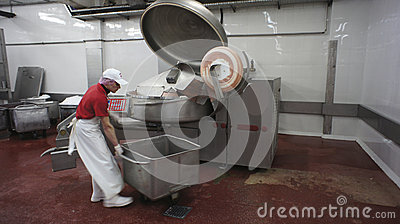 Production of sausages. Sausage Factory. Editorial Photo
