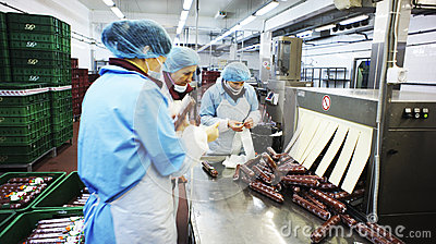 Production of sausages. Sausage Factory. Editorial Stock Image
