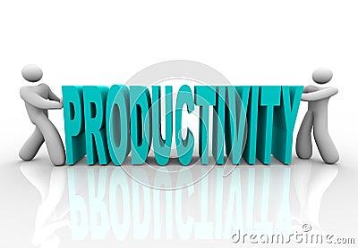 Produktivität - Leute drücken Wort zusammen